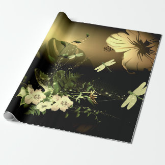 Dragonfly with flowers wrapping paper