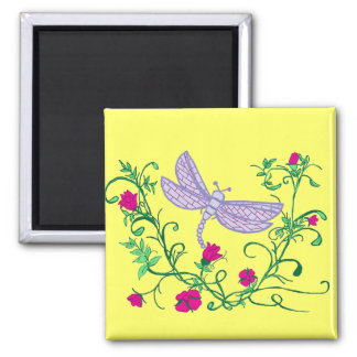 Dragonfly with vines square magnet