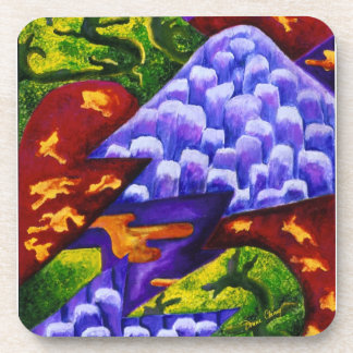 Dragonland - Green Dragons & Blue Ice Mountains Beverage Coasters