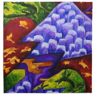 Dragonland - Green Dragons & Blue Ice Mountains Cloth Napkins