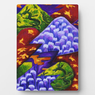 Dragonland - Green Dragons & Blue Ice Mountains Display Plaque