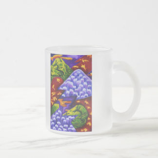 Dragonland - Green Dragons & Blue Ice Mountains Frosted Glass Mug