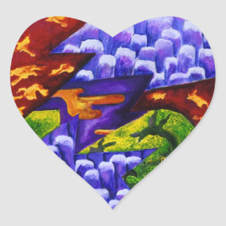 Dragonland - Green Dragons & Blue Ice Mountains Heart Sticker