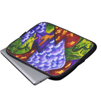 Dragonland - Green Dragons & Blue Ice Mountains Laptop Computer Sleeves