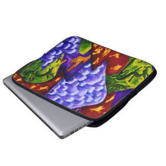 Dragonland - Green Dragons Blue Ice Mountains Computer Sleeve