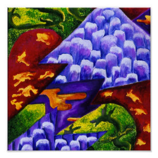 Dragonland - Green Dragons Blue Ice Mountains Poster