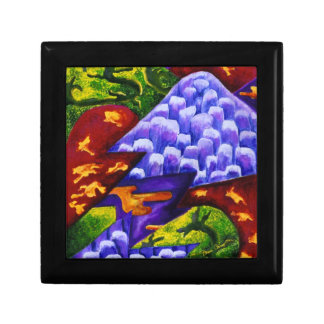 Dragonland - Green Dragons & Blue Ice Mountains Small Square Gift Box