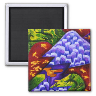 Dragonland - Green Dragons & Blue Ice Mountains Square Magnet