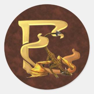 Dragonlore Initial E Classic Round Sticker