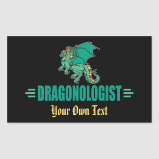 DRAGONOLOGIST Custom Green Dragon Rectangular Sticker