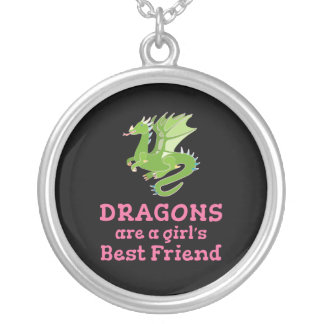 Dragons are a Girl's Best Friend Silver Plated Necklace