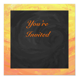 Dragons Eye Orange and Black Monogram 13 Cm X 13 Cm Square Invitation Card
