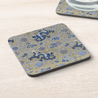 Dragons, Flowers, Butterflies - Blue on Dull Gold Drink Coaster