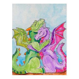 Dragons Hugging Postcard