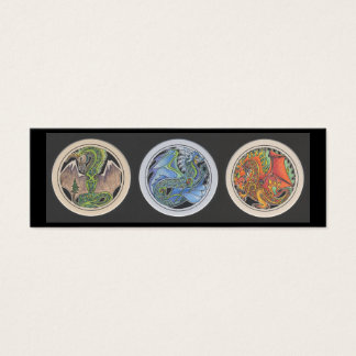 """""""Dragons in a Row"""" Bookmark Mini Business Card"""