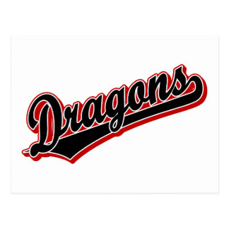 Dragons in Black and Red Postcards