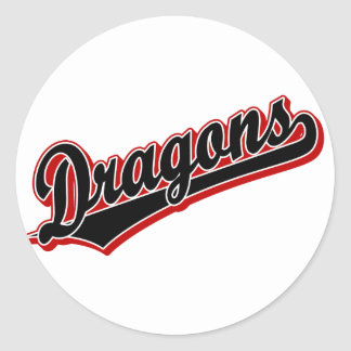 Dragons in Black and Red Round Sticker