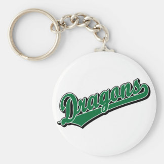 Dragons in Green Basic Round Button Key Ring