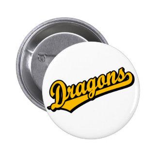 Dragons in Orange Pinback Buttons