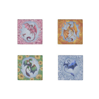 """Dragons of the Four Seasons"" Fantasy Art Stone Magnet"