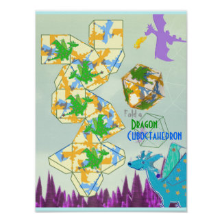 Dragons Pattern Fold a Cuboctahedron Poster