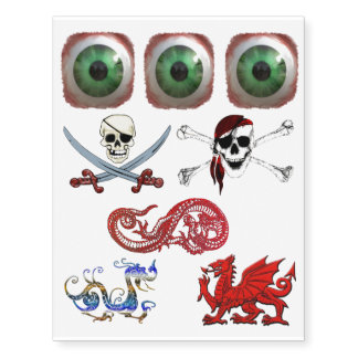 Dragons, Skulls and Freaky Eyeball Tattoos Temporary Tattoos