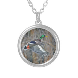 Drake mallard in flight silver plated necklace