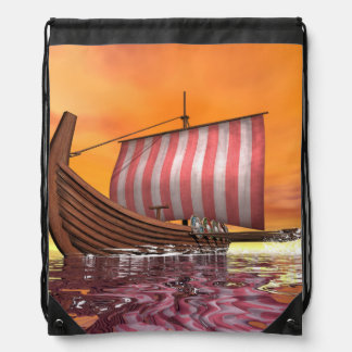 Drakkar or viking ship - 3D render Drawstring Bag