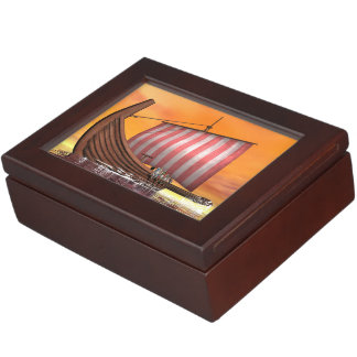 Drakkar or viking ship - 3D render Keepsake Box