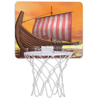 Drakkar or viking ship - 3D render Mini Basketball Hoop