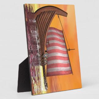 Drakkar or viking ship - 3D render Plaque