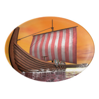 Drakkar or viking ship - 3D render Porcelain Serving Platter