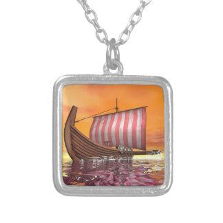 Drakkar or viking ship - 3D render Silver Plated Necklace