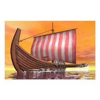 Drakkar or viking ship - 3D render Stationery