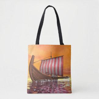 Drakkar or viking ship - 3D render Tote Bag