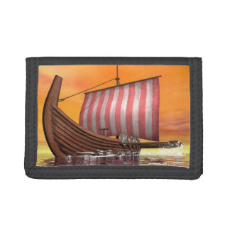 Drakkar or viking ship - 3D render Trifold Wallet