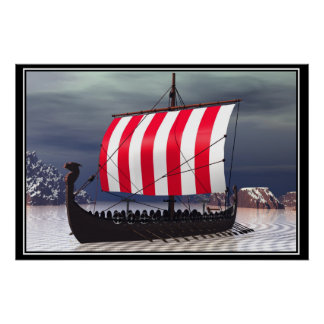 Drakkar Viking Sailing Ship Poster