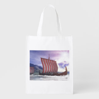 Drakkars - 3D render Reusable Grocery Bag