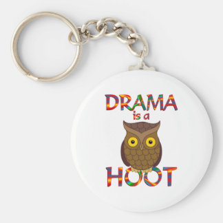 Drama is a Hoot Basic Round Button Key Ring