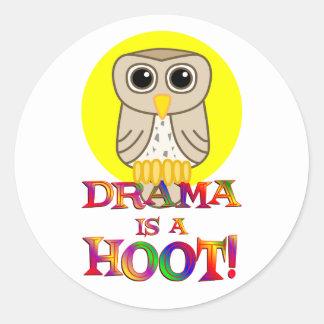 Drama is a Hoot Round Sticker