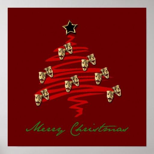 Drama Mask Christmas Tree Posters