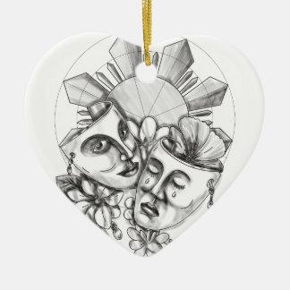 Drama Mask Hibiscus Sampaguita Flower Philippine S Ceramic Heart Decoration
