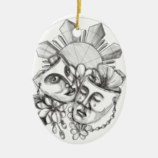 Drama Mask Hibiscus Sampaguita Flower Philippine S Ceramic Ornament