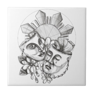 Drama Mask Hibiscus Sampaguita Flower Philippine S Ceramic Tile