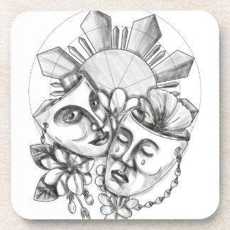 Drama Mask Hibiscus Sampaguita Flower Philippine S Coaster