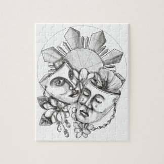 Drama Mask Hibiscus Sampaguita Flower Philippine S Jigsaw Puzzle