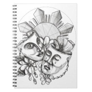 Drama Mask Hibiscus Sampaguita Flower Philippine S Notebooks