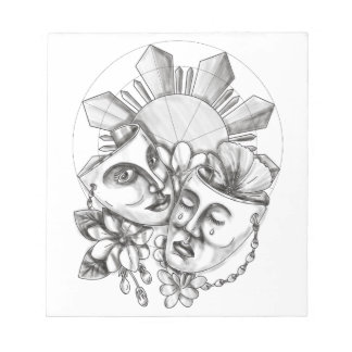 Drama Mask Hibiscus Sampaguita Flower Philippine S Notepad