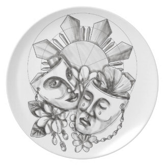 Drama Mask Hibiscus Sampaguita Flower Philippine S Plate