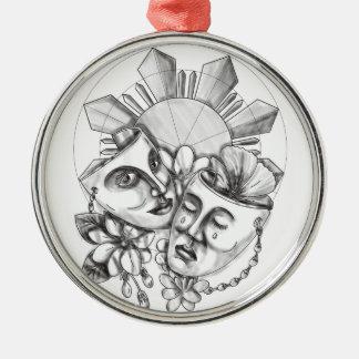 Drama Mask Hibiscus Sampaguita Flower Philippine S Silver-Colored Round Decoration